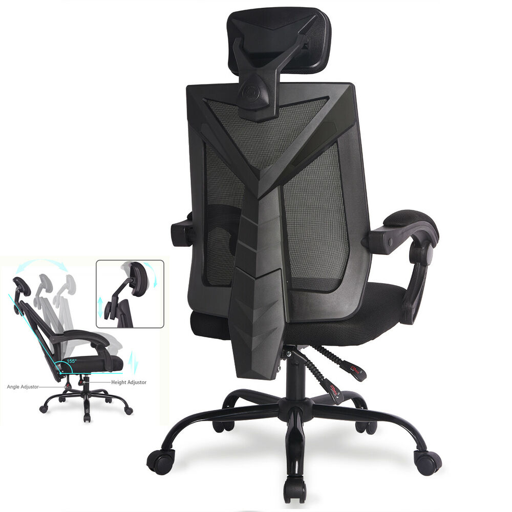 mesh gaming chair wooden garden chairs b q ergonomic office high back desk details about reclining computer