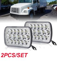 pair led headlight replace 6054 h6054 seal beam amber turn for freightliner fl70 [ 1000 x 1000 Pixel ]