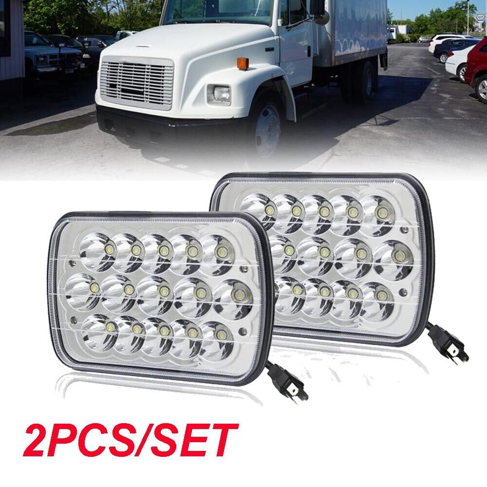 hight resolution of pair led headlight replace 6054 h6054 seal beam amber turn for freightliner fl70