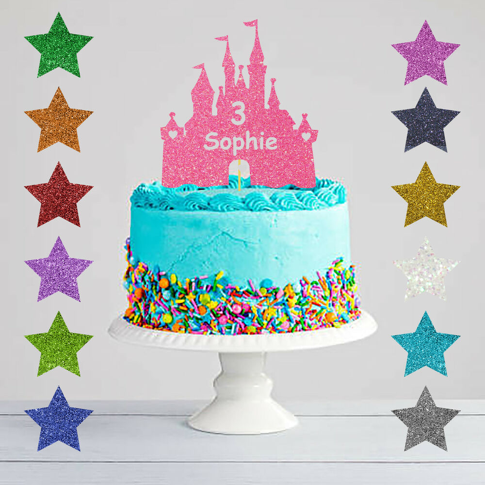 Personalised Birthday Princess Castle Glitter Cake Topper Any Name