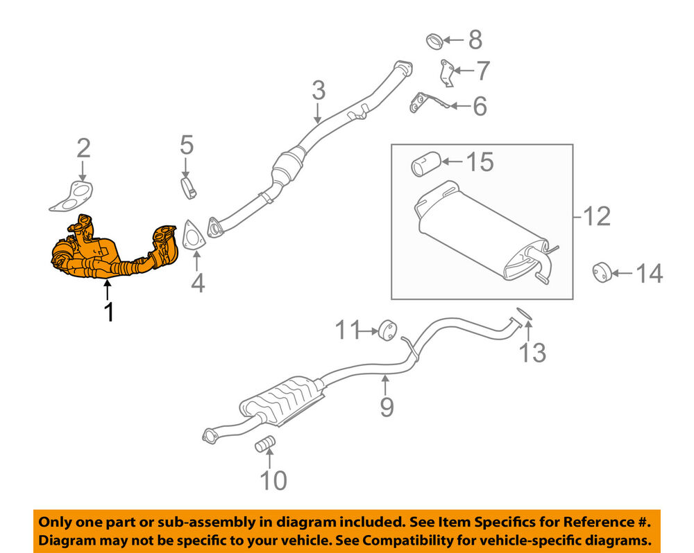 medium resolution of details about subaru oem 08 11 impreza 2 5l h4  exhaust system crossover