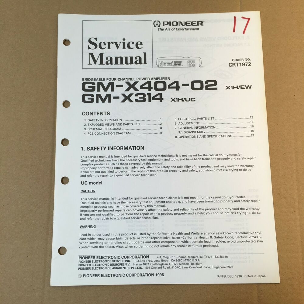 hight resolution of pioneer service manual crt1972 for gm x404 02 x314 power amplifier ebay