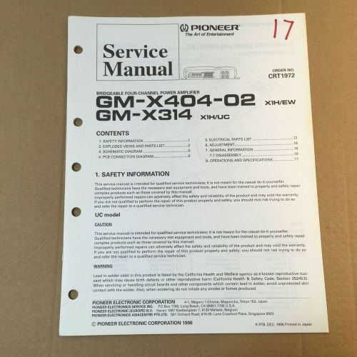 small resolution of pioneer service manual crt1972 for gm x404 02 x314 power amplifier ebay