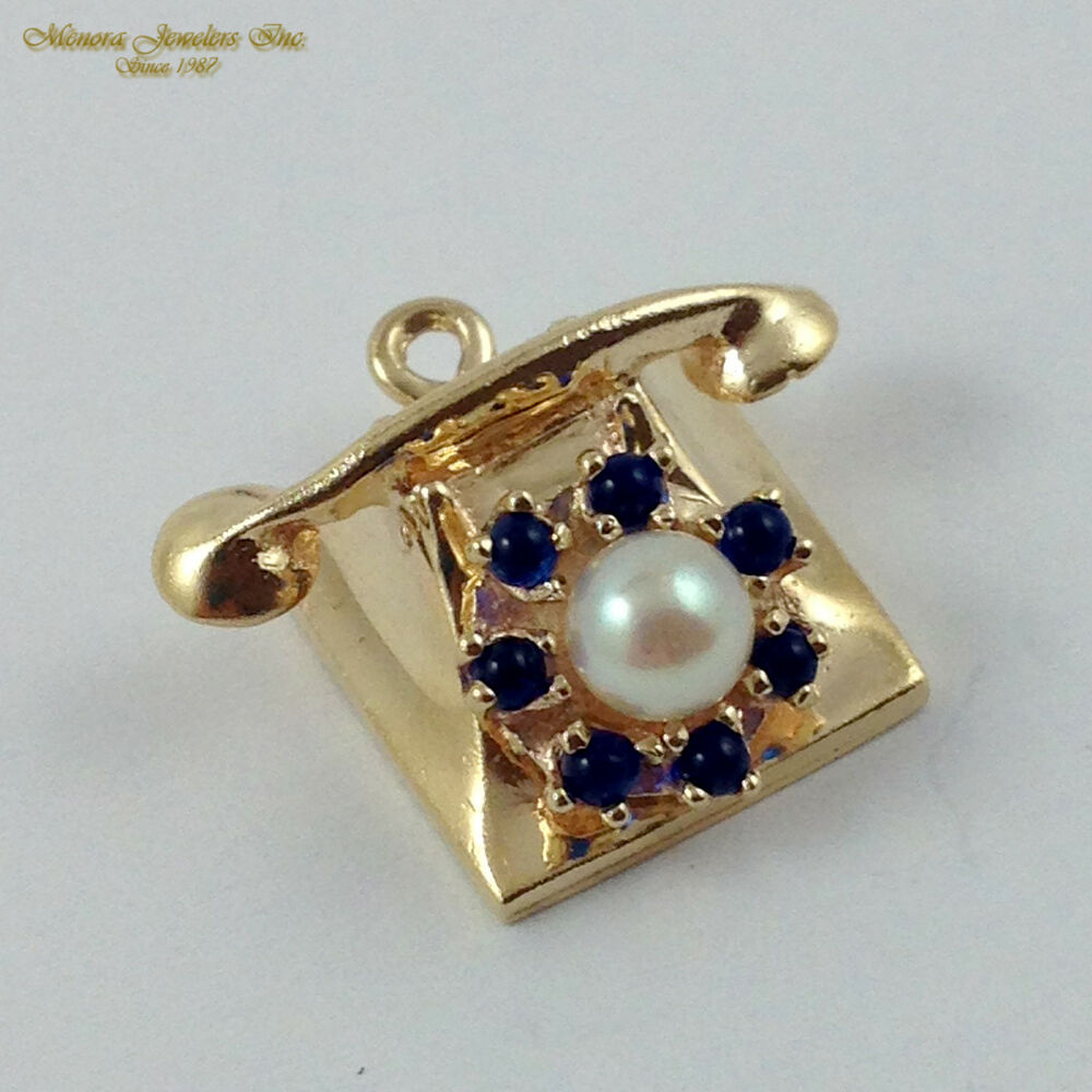 medium resolution of details about vintage 14k yellow gold rotary phone charm with sapphire pearl spinner b24 23 49
