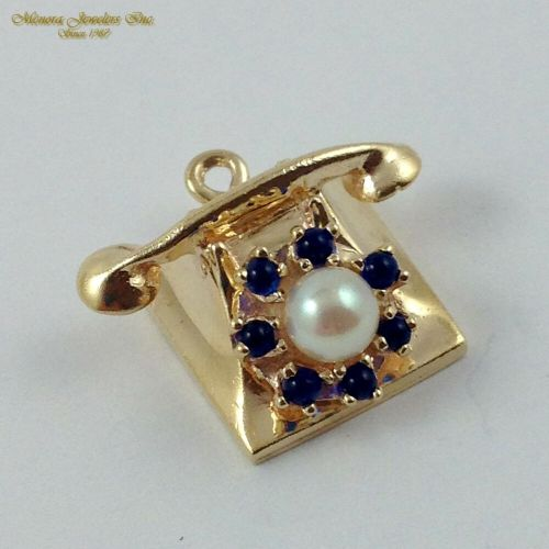 small resolution of details about vintage 14k yellow gold rotary phone charm with sapphire pearl spinner b24 23 49