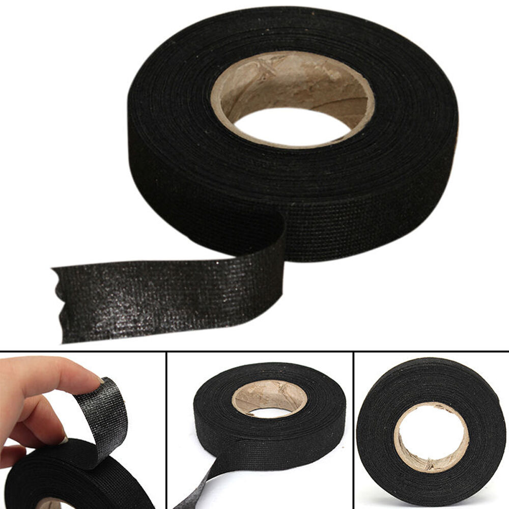 hight resolution of details about 1 roll black adhesive cloth fabric tape cable wiring harness sticky car repair