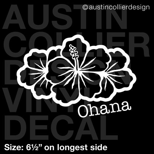 65quot OHANA HIBISCUS vinyl decal car truck window laptop