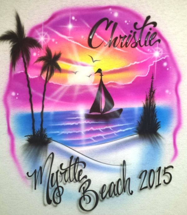 Airbrushed Beach Scene Sunset And Sailboat Personalized