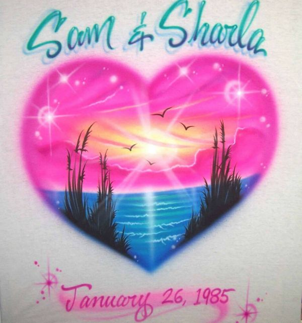 Airbrushed Bright Heart Shaped Beach Scene Personalized
