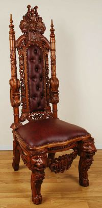 Carved Mahogany Lion Head Gothic Throne Chair - Queen | eBay