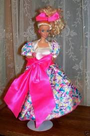1976 barbie doll bright pink bow