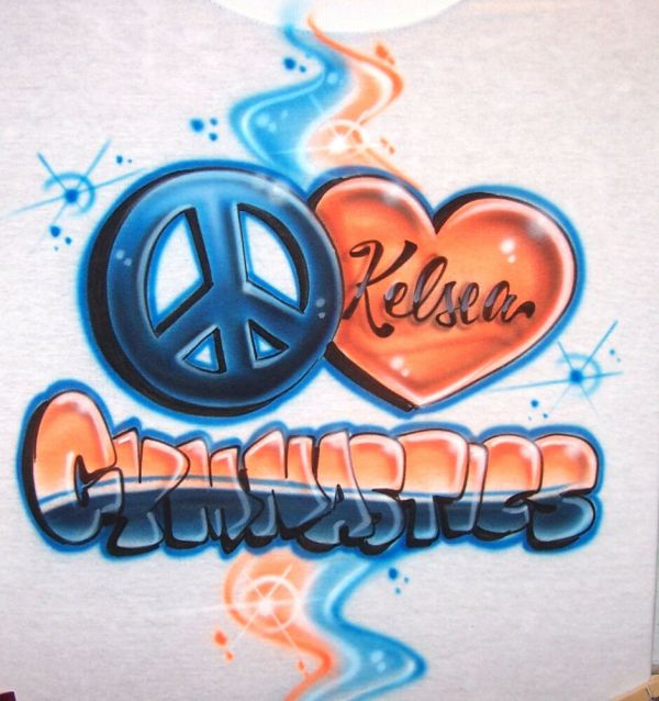 Airbrush Peace Love Gymnast T-shirt- Team Color