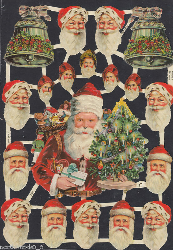 SANTA BELL FACE HEAD PAPER CHRISTMAS TREE SCRAP GERMAN