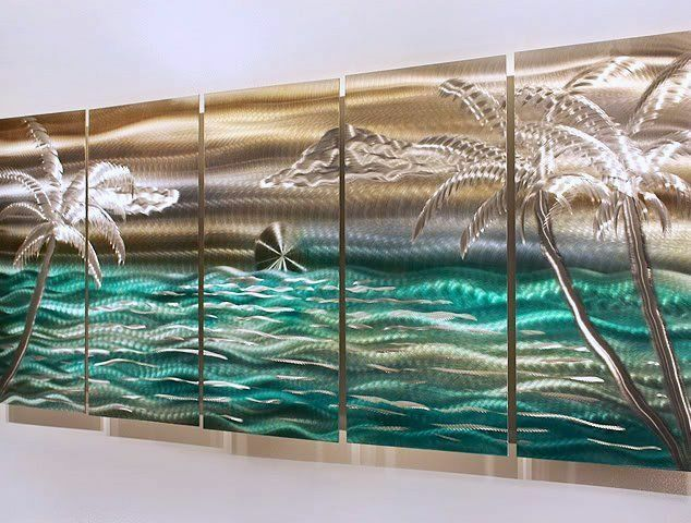 Modern Abstract Tropical Metal Wall Art Decor Silver/Gold