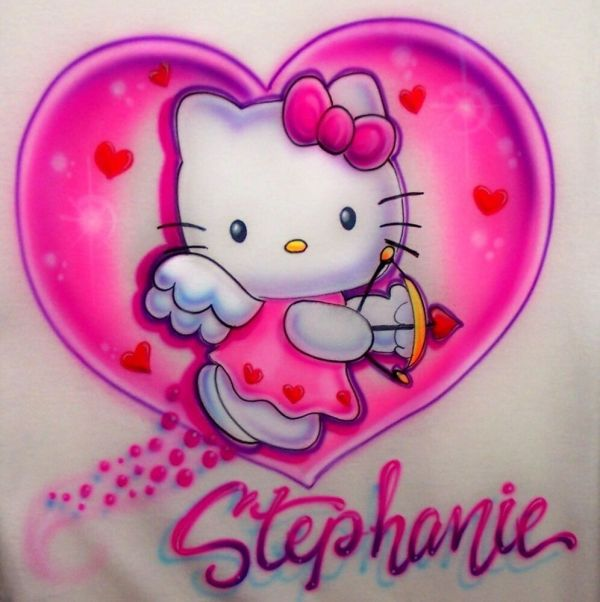 Airbrushed Kitty Shirt Size Personalized With