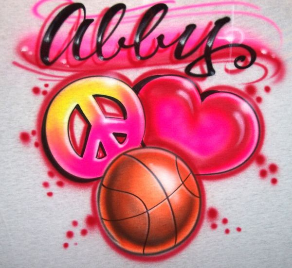 Airbrush Peace Love Basketball T-shirt Airbrushed Sport Color