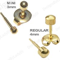 2 Pairs Gold Ball Studs 4mm and 3mm Ear Piercing Earrings ...
