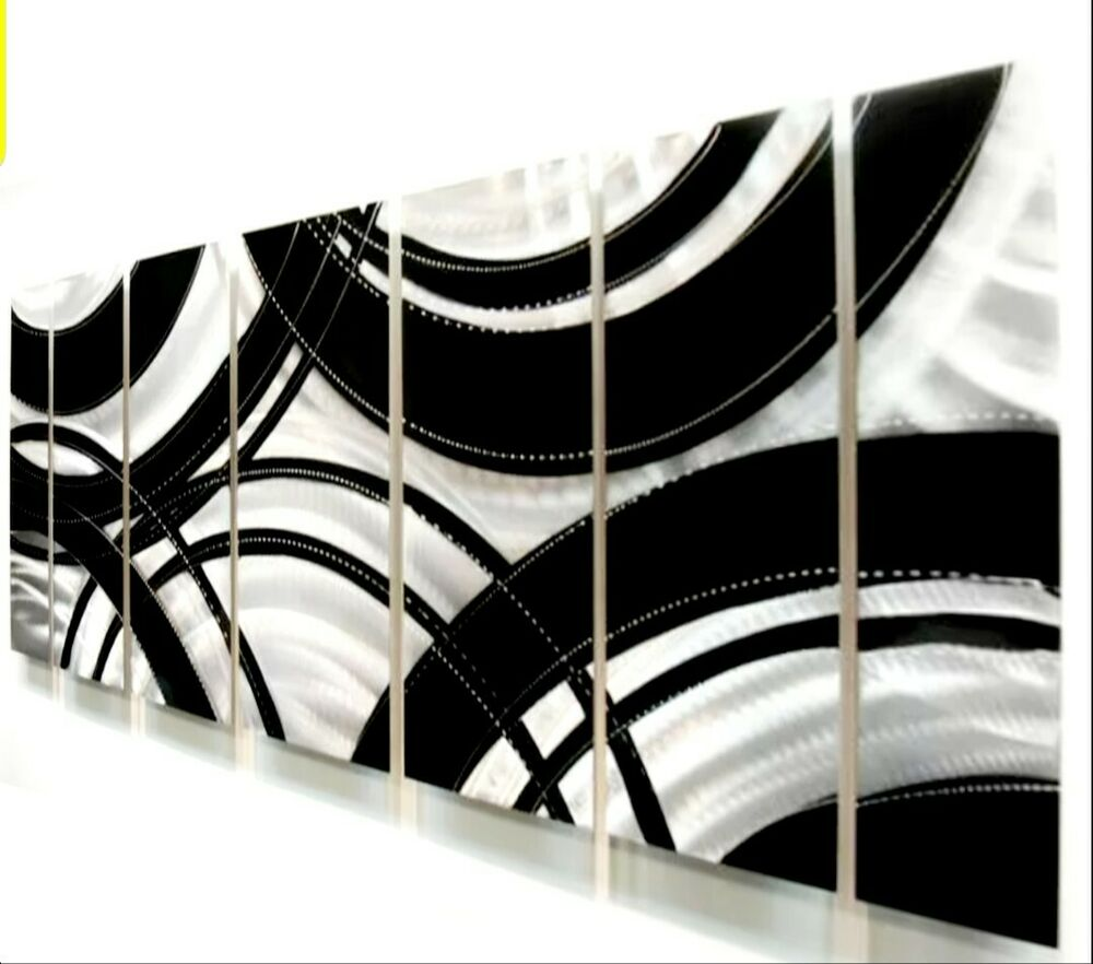 Modern Silver/Black Abstract Metal Wall Art Painting