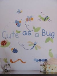 CUTE AS A BUG Blue Green Insects BABY BOYS Nursery WALL ...