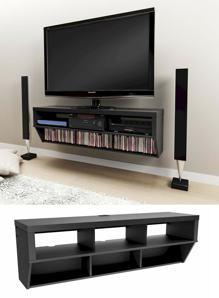 58 Wall Mounted Entertainment Console LCDLED TV Stand wAV Shelves NEW  eBay