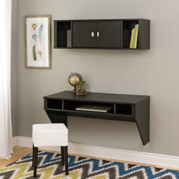 Wall Mounted Floating Computer Desk And Hutch With Storage