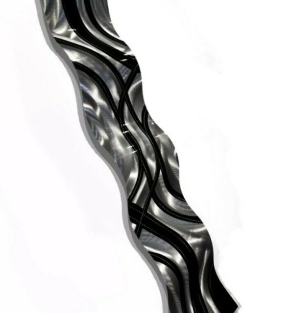 Silver Black 3d Metal Wall Art Accent Wave Contemporary