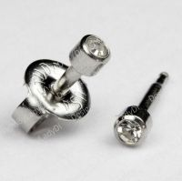 SHORT POST Baby Studs Stainless Clear Gem Ear Piercing ...
