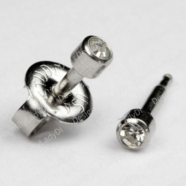 Short Post Baby Studs Stainless Clear Gem Ear Piercing