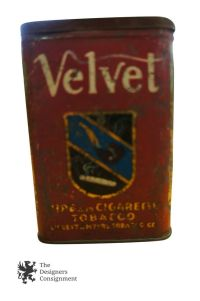 Antique Velvet Pipe and Cigarette Tobacco Tin 1910 Tax