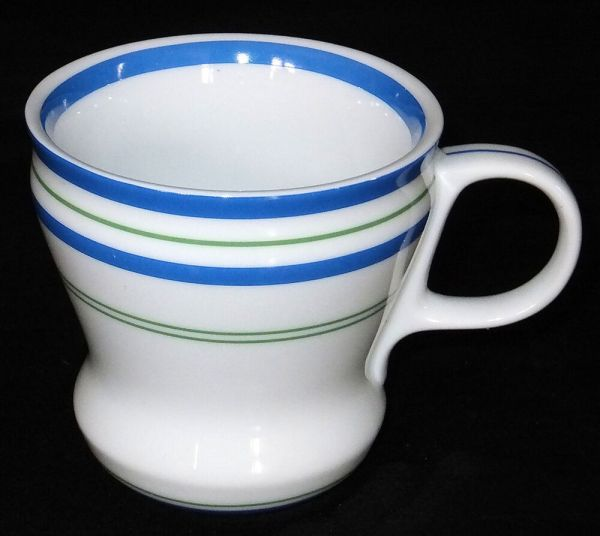 Rare 2007 Starbucks White With Blue & Green Stripes 12 Ounce