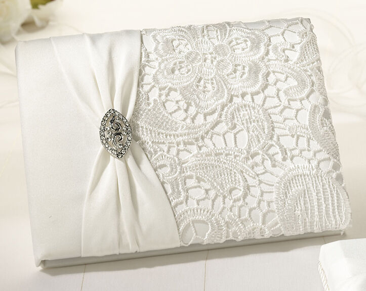 Cream Lace Off white Guest Book and Pen set wedding book Vintage Wedding  eBay