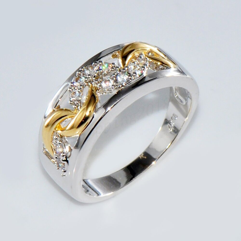 Size 610 Gold  Silver Crystal Hollow Band Ring 10KT