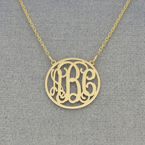 Small 14k Solid Gold Circle Monogram Necklace 5 8