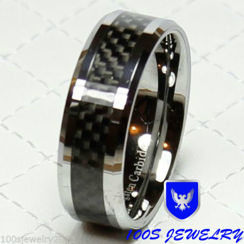 Tungsten Carbide Ring 8mm Black Carbon Fiber Mens Wedding