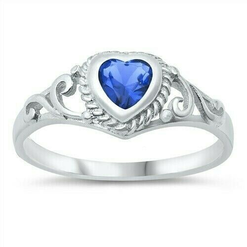 Usa Seller Heart Baby Ring Sterling Silver 925 Jewelry Blue Sapphire