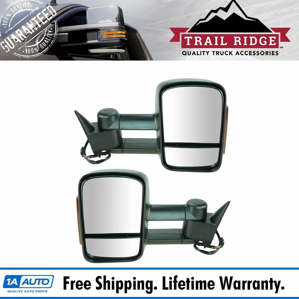 Towing Mirror Power Heated Signal Textured Pair For Chevy