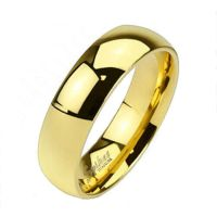 Solid Titanium Men's Gold 4mm 6mm or 8mm Plain Band Ring ...