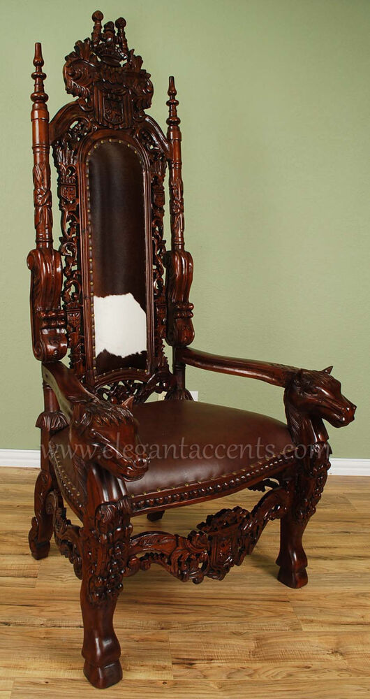 Carved Mahogany Horse Head Gothic Throne Chair  King