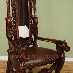 Cowhide Chairs Uk Office Chair Walmart Carved Mahogany Horse Head Gothic Throne - King Brown Finish With | Ebay