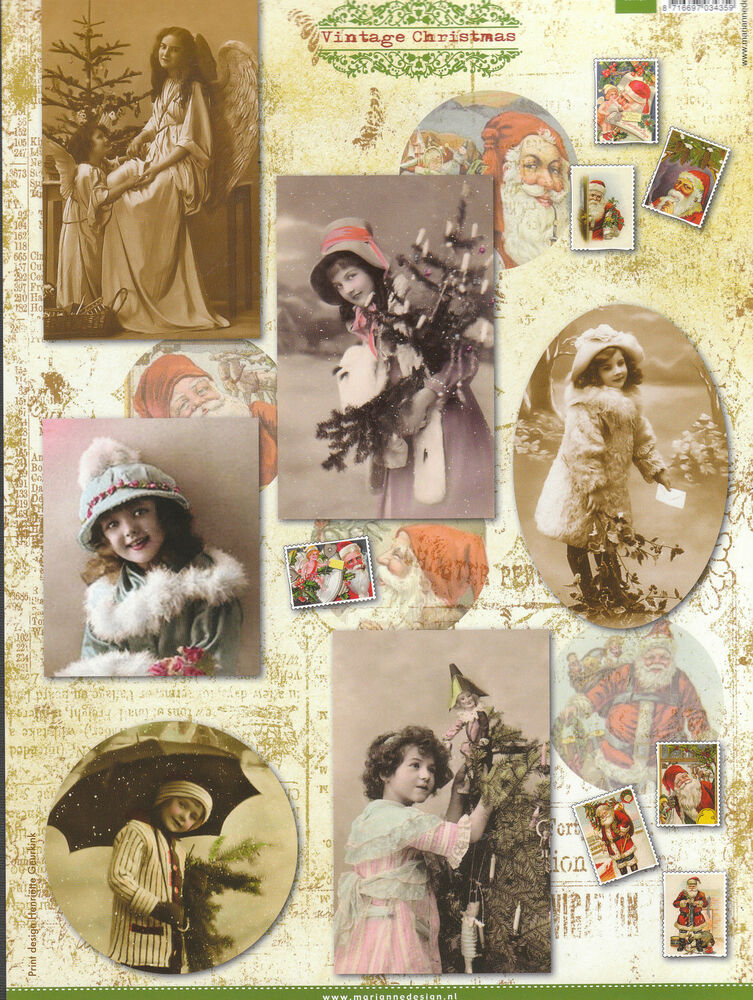 VICTORIAN VINTAGE STYLE GIRLS POSTCARD CHRISTMAS CUTOUT