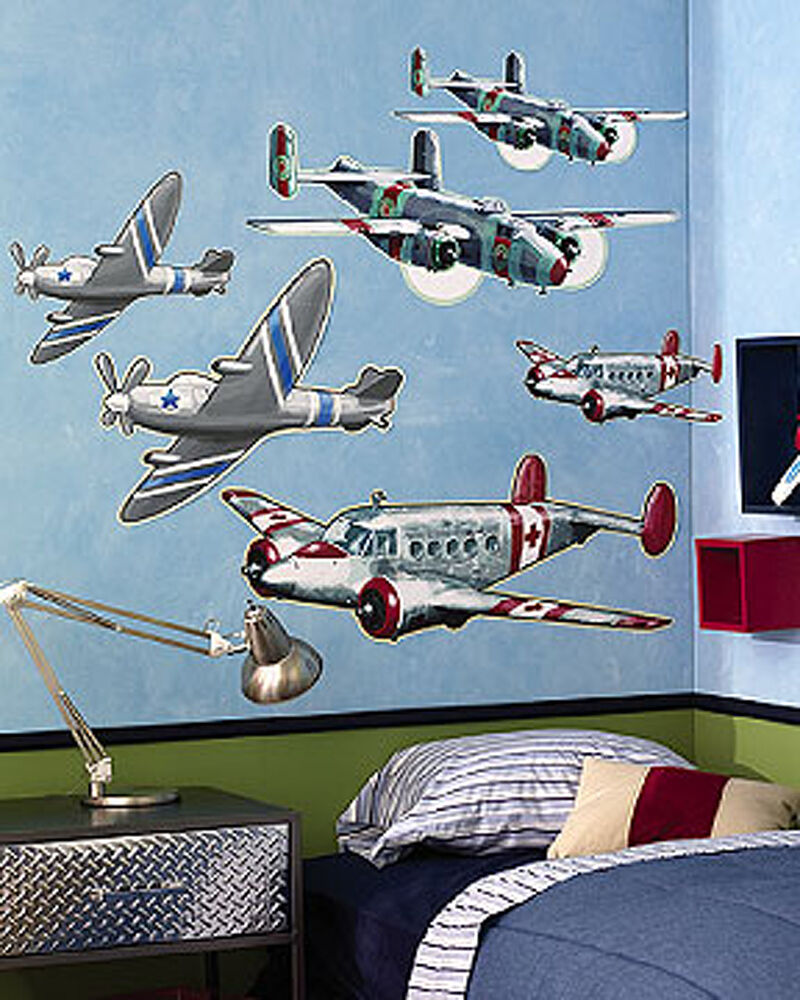 Vintage Airplanes 6 Lg Wall Murals Decals Sticker Boys