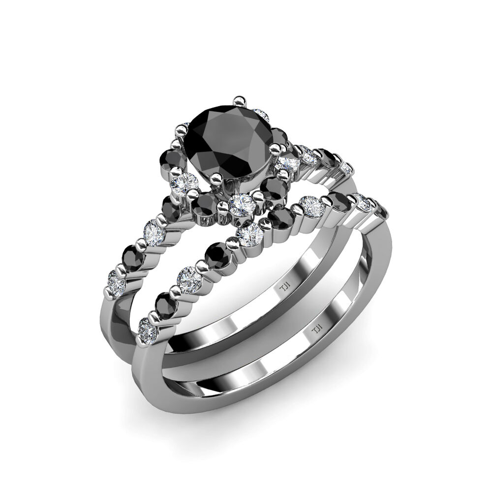 Black & White Diamond Halo Bridal Ring & Wedding Band Set