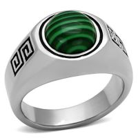 Mens Green Round Dome Malachite Silver Stainless Steel