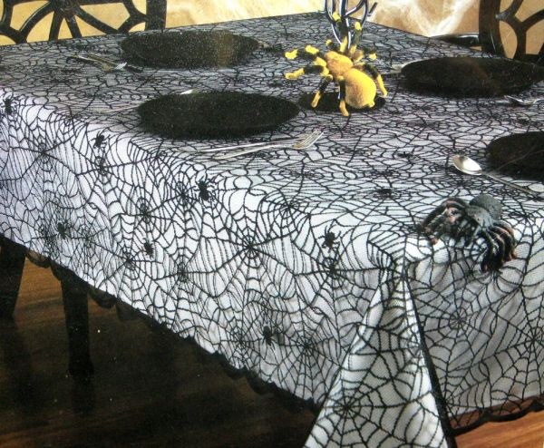 Spider Web Black Lace Table Cloth Fabric Tablecloth Halloween 52 60 70 120