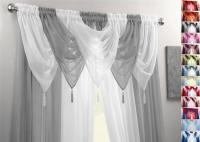 SILVER & WHITE VOILE SWAGS & CURTAIN PANELS 9 PEICE SET 54 ...