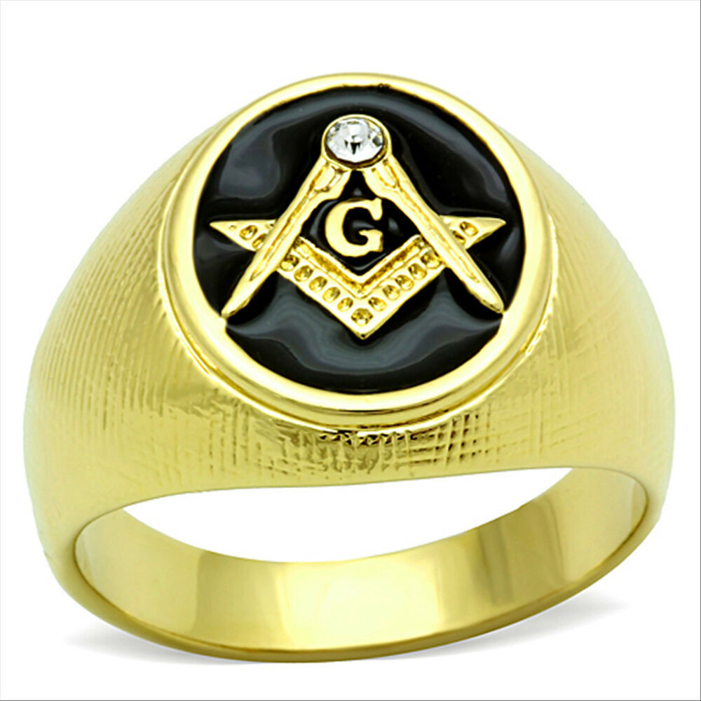 Masonic Mason Oval Black 18kt Gold Plated Stainless Steel