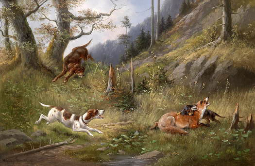 perfect oil painting hound dogs