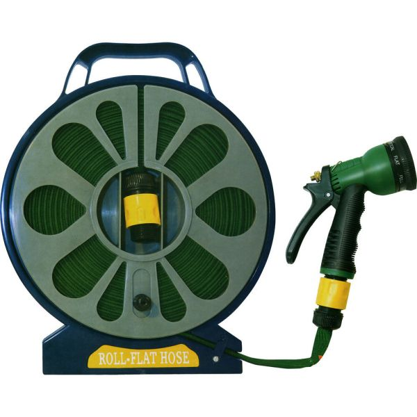 15m 50ft Flat Garden Hose Pipe & Reel With Spray Gun Outdoor Car Watering