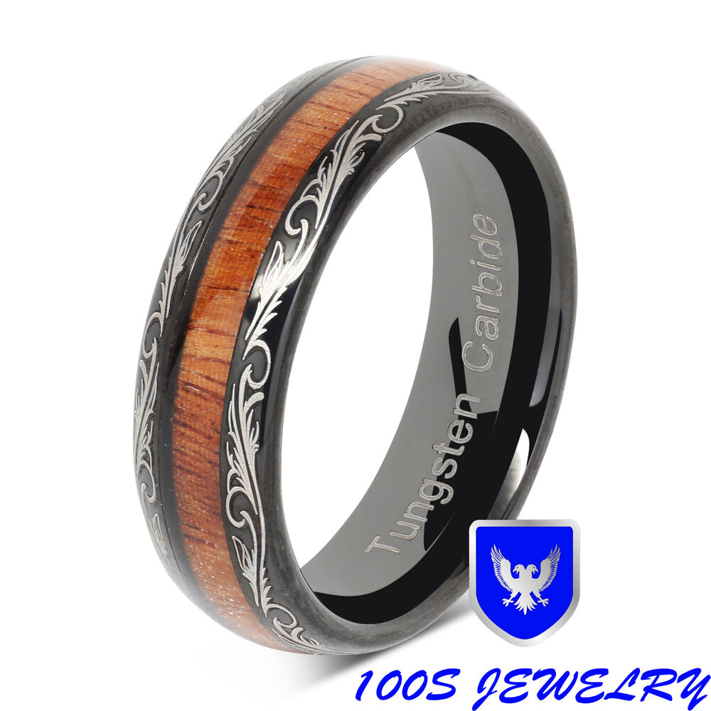 6mm Womens Tungsten Ring Wood Inlay Black Wedding Band
