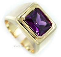 Solitaire Amethyst Purple Stone Gold EP Mens Stainless ...